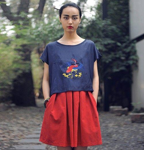 红裙高腰收腹伞裙第1张