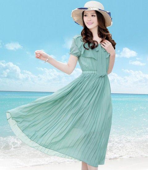 圆领风琴褶连衣裙第2张