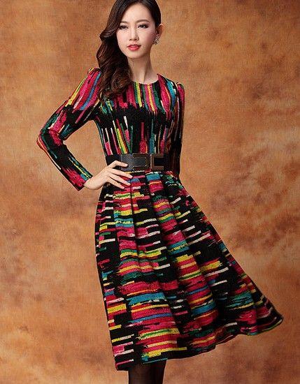抽象条纹羊毛混纺修身连衣裙第4张