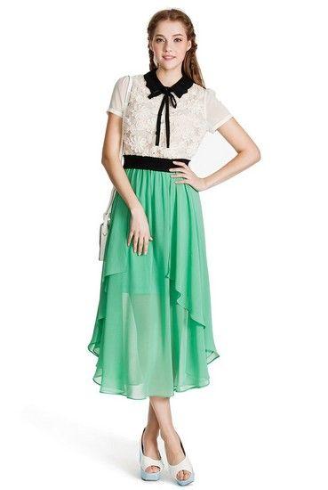蕾丝刺绣雪纺拼接连衣裙第3张