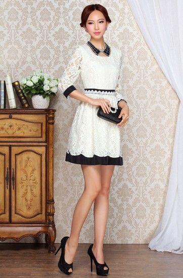 蕾丝拼色连衣裙第5张