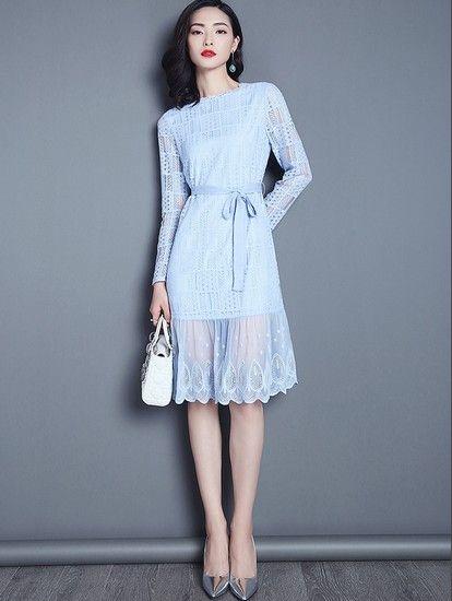 纯色蕾丝连衣裙第7张