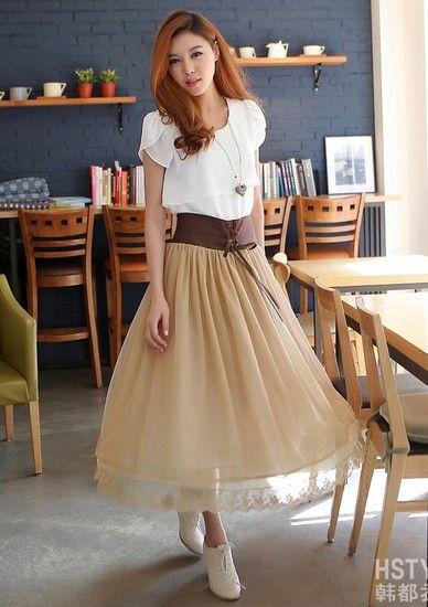 纯色织花纱网蕾丝半身长裙第4张