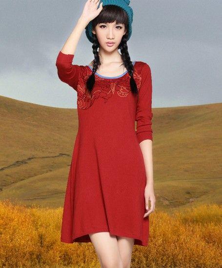 圆领绣花针织连衣裙第1张