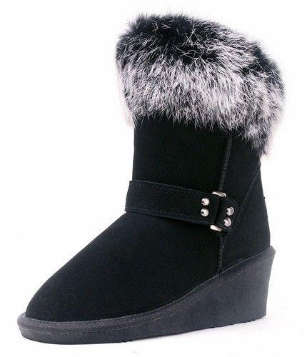 兔毛真皮坡跟雪地靴第1张
