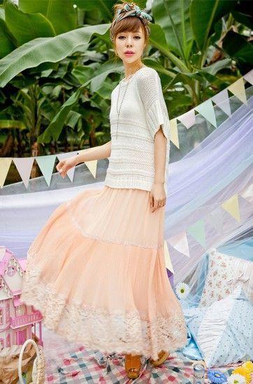 蕾丝雪纺半身长裙第6张
