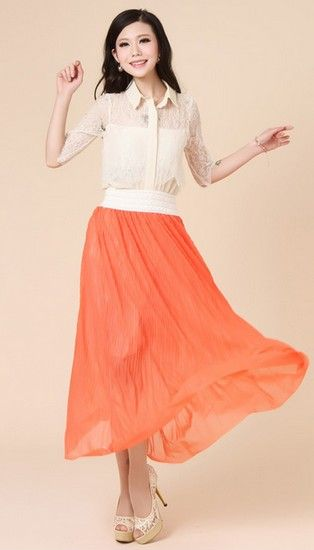 宽腰带百褶雪纺半身裙第5张