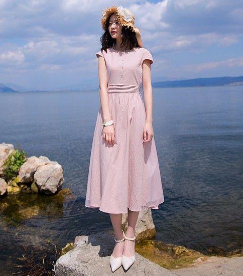 中长款粉色棉麻连衣裙第1张