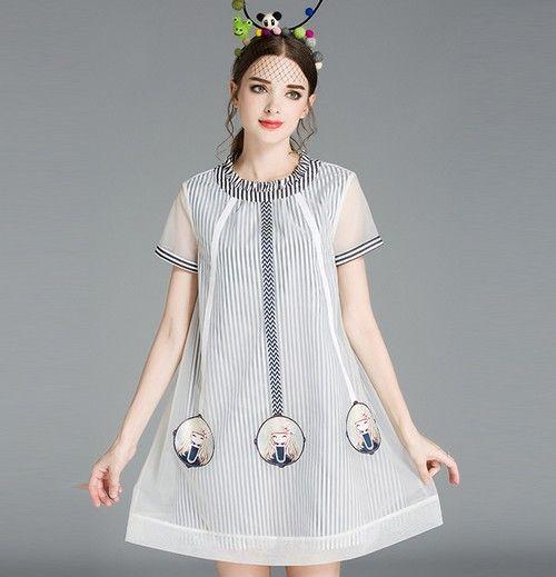 圆领竖条纹连衣裙第1张
