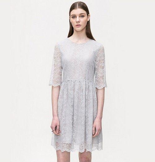 X型收腰蕾丝连衣裙第1张