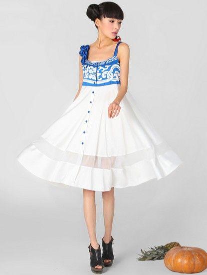 立体花朵吊带连衣裙第2张