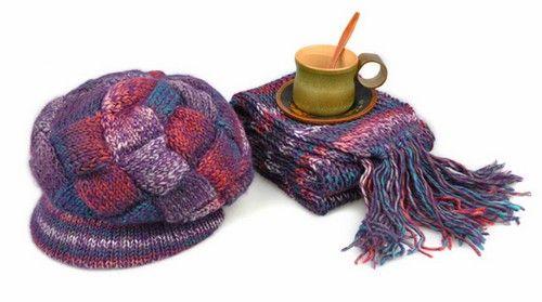 波西米亚席纹围巾帽子套装第1张