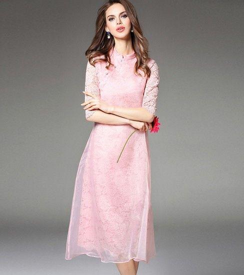 五分袖蕾丝改良连衣裙第1张