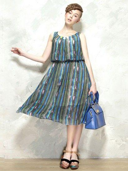 彩色条纹复古连衣裙第3张