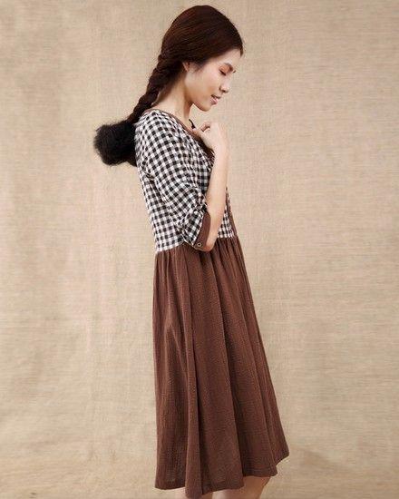 棉质格子撞色高腰连衣裙第8张
