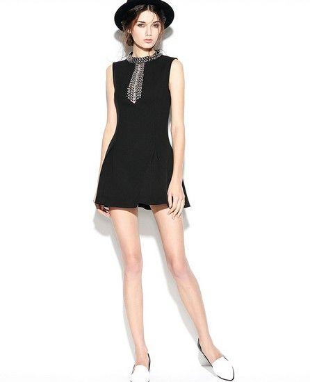 无袖钉珠黑色连衣裙第1张