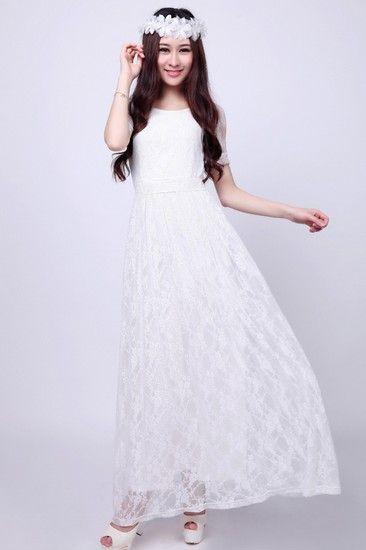 唯美短袖蕾丝连衣裙第6张