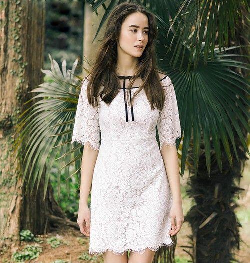 蕾丝蝴蝶结五分袖连衣裙第3张
