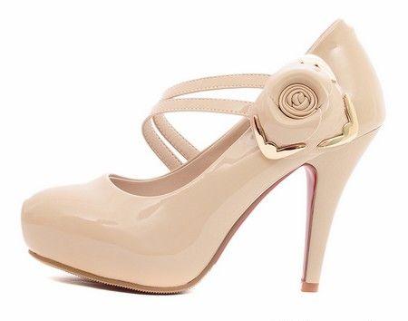 踝带花朵高跟鞋第1张