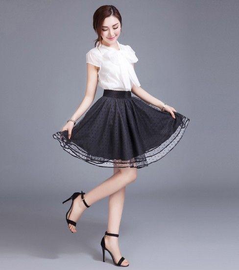 蕾丝波点网纱蓬蓬裙第1张