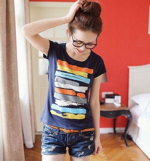 彩虹条纹印花短袖T恤第1张
