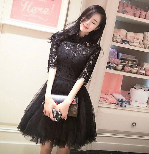 旗袍领蕾丝连衣裙第1张