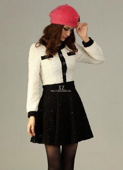 圆领修身黑白连衣裙第4张