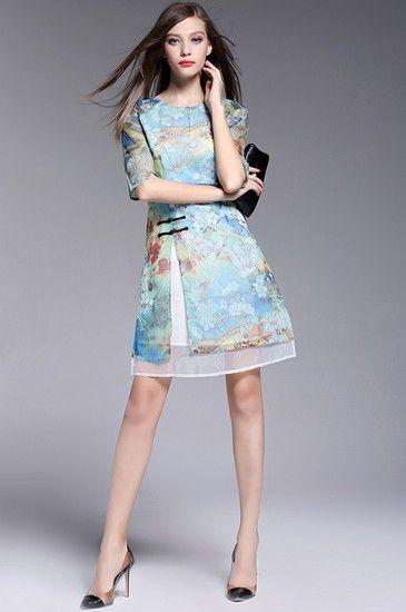 印花开衩连衣裙第1张