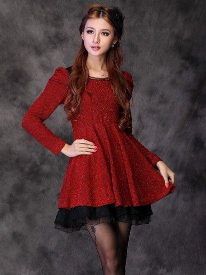 红色蕾丝大裙摆收腰连衣裙第1张