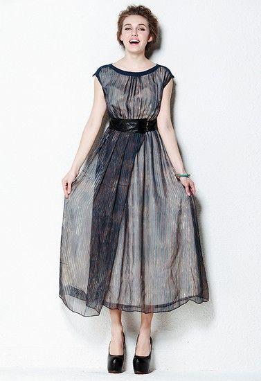 真丝条纹连衣裙第4张