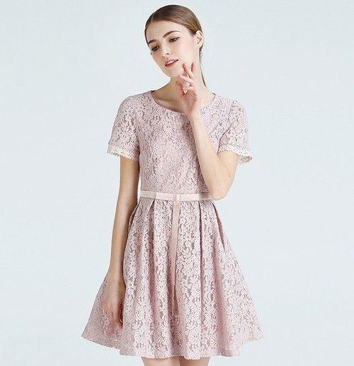 纯色镂空蕾丝连衣裙第1张