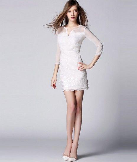 雪纺露背刺绣连衣裙第1张