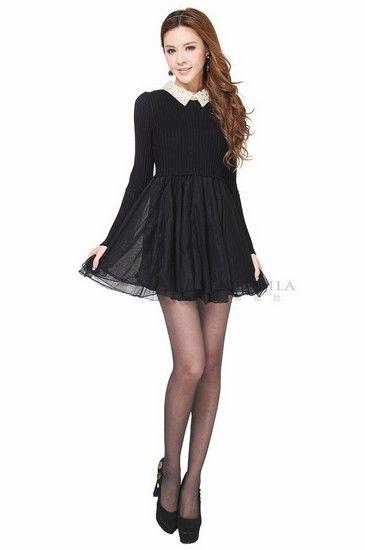 针织长袖修身连衣裙第1张