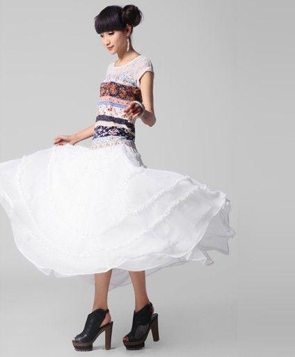 双层面料大摆雪纺半身长裙第8张