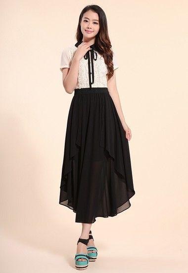 韩版短袖不规则裙摆连衣裙第7张