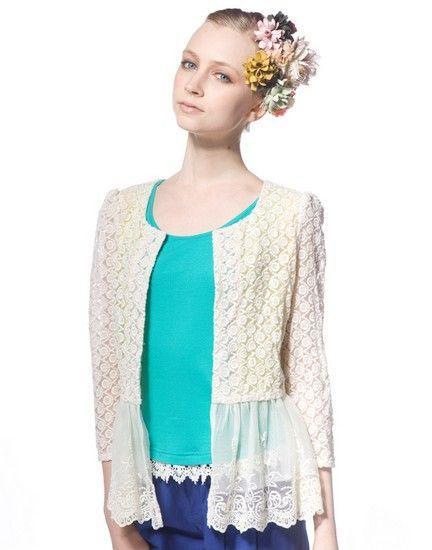 双层镂空蕾丝针织开衫第5张