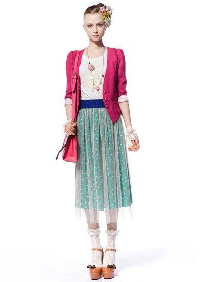 碎花网纱半身长裙第3张