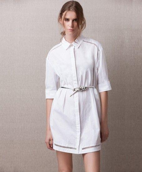 中长款白色衬衫裙第1张