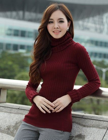 中长款加厚高领毛衣第1张