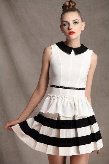 黑白条纹百褶裙第5张