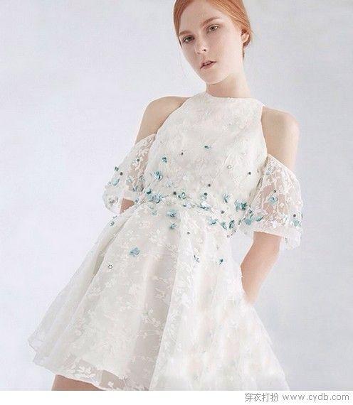 露肩钉珠网纱礼服裙第1张