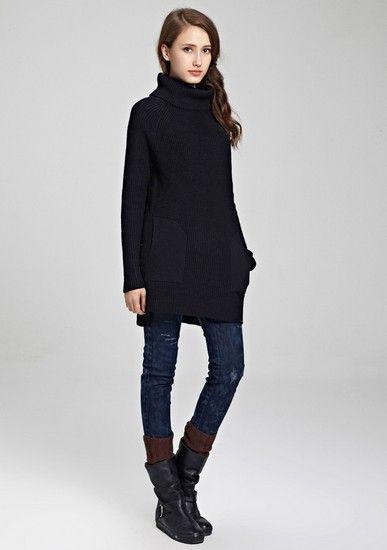 加厚宽松高领长款羊毛衫第1张