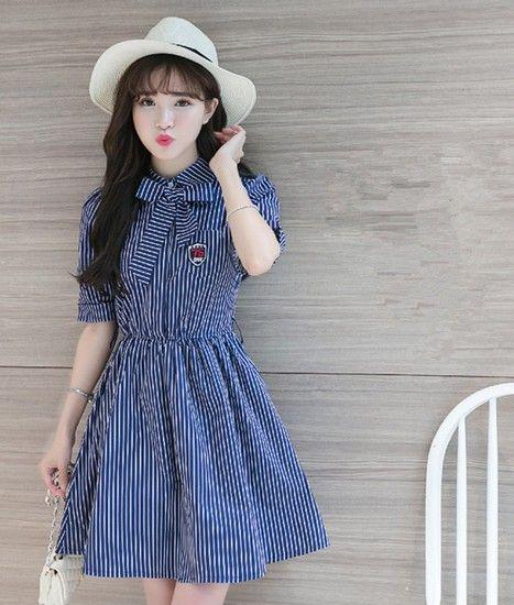 条纹复古短袖连衣裙第1张
