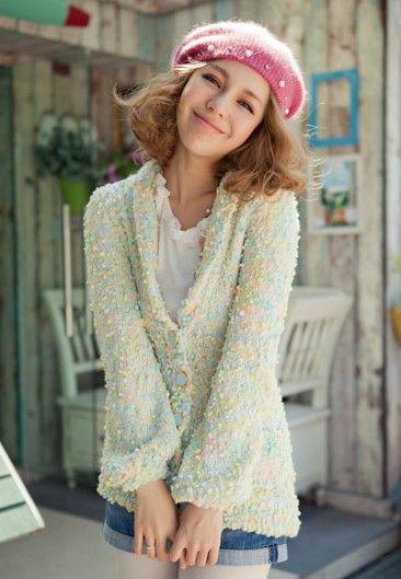 彩线针织花色毛衣外套第7张