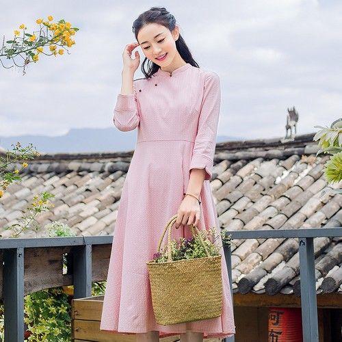 民族风纯色长裙第1张