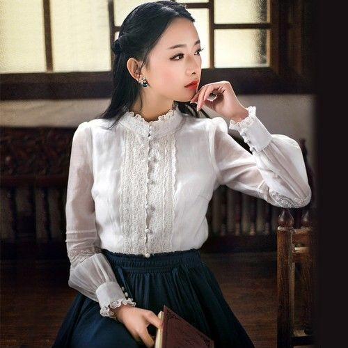 蕾丝立领白衬衫第1张