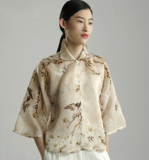 中国风印花真丝衬衫第1张