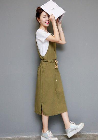 棉麻背带连衣裙套装第1张