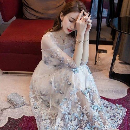 七分袖网纱长裙