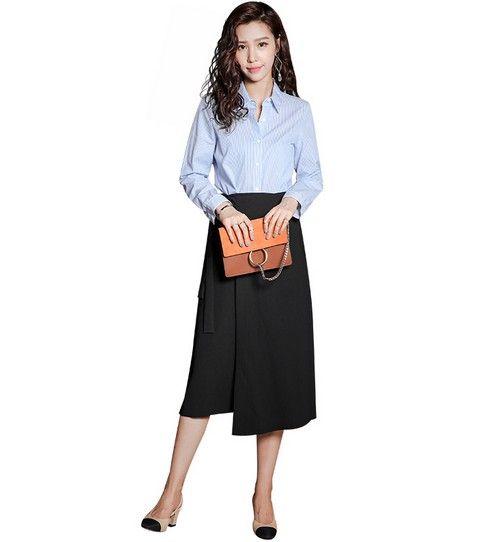 高腰绑带中长半裙第8张